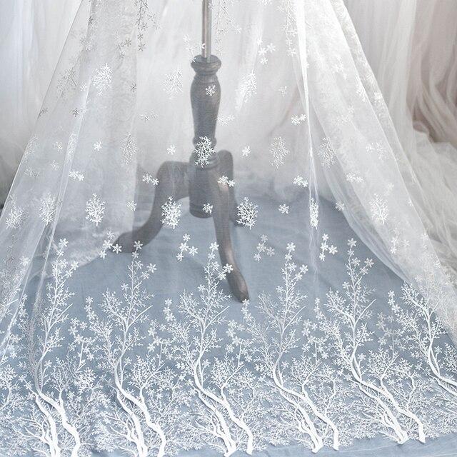 눈송이 자수 레이스 패브릭 웨딩 베일 패션 고급 메쉬 천으로 드레스 장식 액세서리 화이트