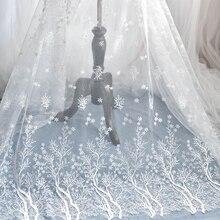 Floco de neve bordado tecido de renda véu de casamento moda high grade malha pano vestido decoração acessórios branco