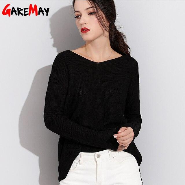 Garemay Frauen Pullover Und Pullover Lange Strickte Weibliche Pullover V Neck Strickwaren Langarm Jersey Off Schulter Pullover Ziehen