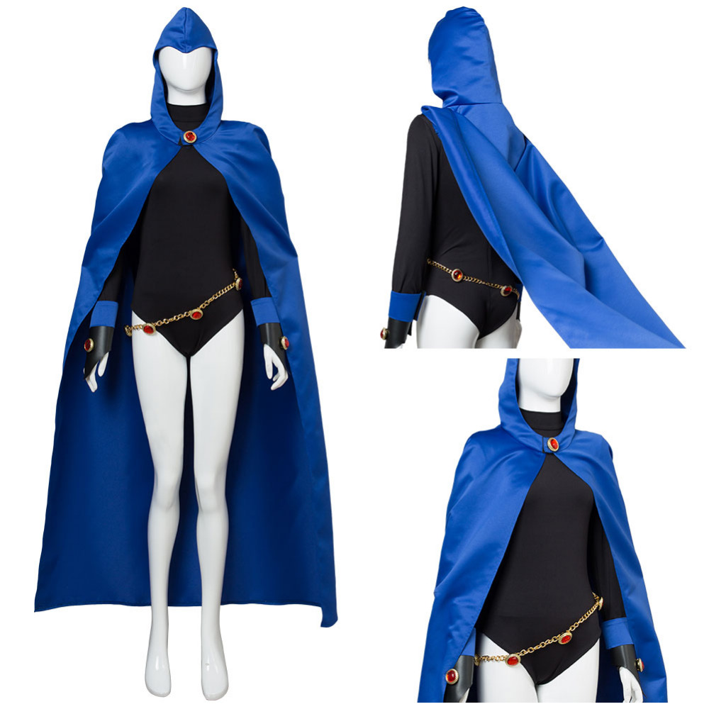 Anime Teen Titans Raven Cosplay Costume Cloak Jumpsuit