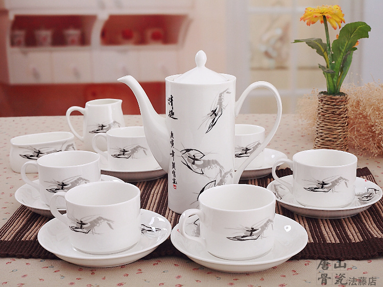 Fine Bone China Coffee Set Traditional Chinese Shrimp Painting European Cup And Saucer 21 Piece Crafts Teapot In Tea Sets From