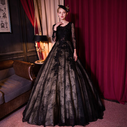100 real black lace flower embroidery beading trailing ball gown royal Medieval Renaissance Victorian font b