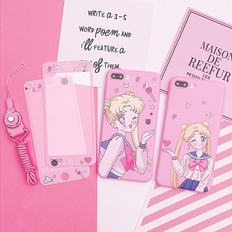 Für iphone X Card Captor Sakura Fall + Gehärtetem Glas Screen Protector Film für iphone 6 6 s Plus 7 7 plus 8 8 plus Sailor Mond abdeckung