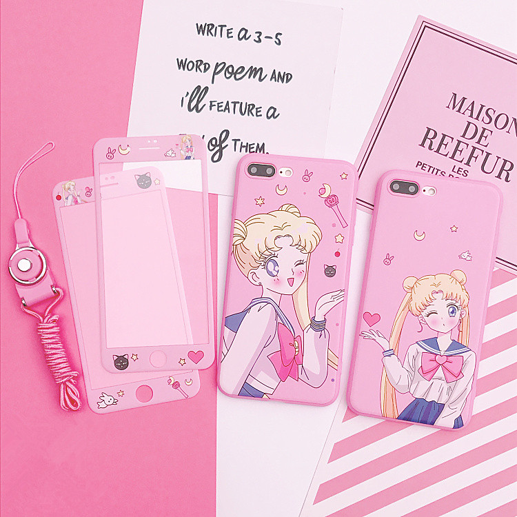For iphone X Cardcaptor Sakura Case+Tempered Glass Screen Protector Film for iPhone 6 6s Plus 7 7plus 8 8plus Sailor Moon cover
