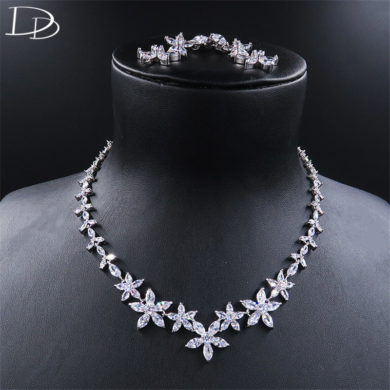 DODO Lovely Blossom Necklace & Earrings For Women Wedding Bridal Fine Jewelry Sets High Quality AAA Zircon Bijoux Femme D15179 a suit of chic blossom necklace and earrings jewelry for women