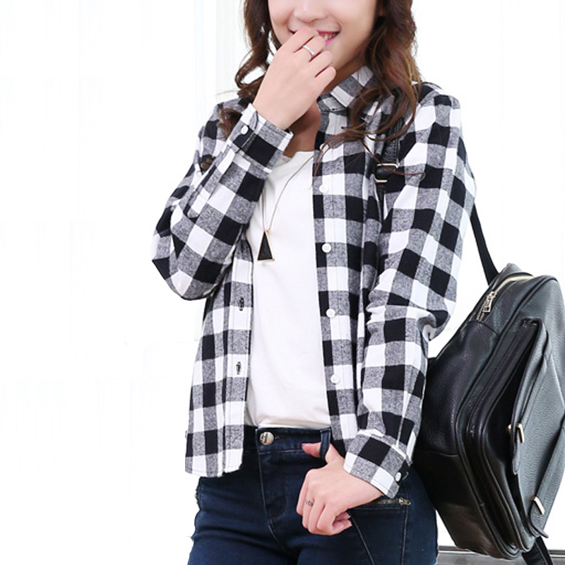 Plaid Long Sleeve Shirts For Women