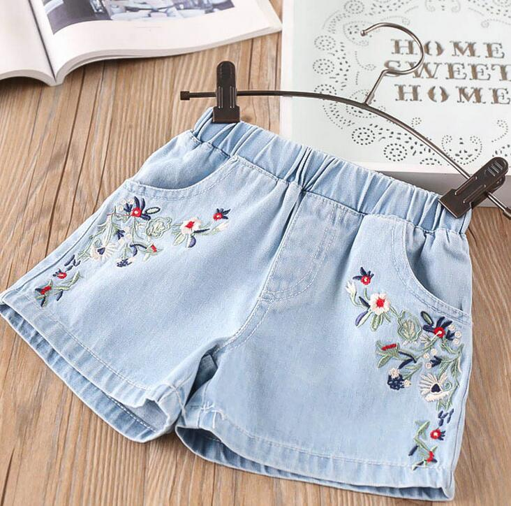 a701e82fce1 only short pant 1pc new 2018 summer embroidery flower girls denim short pant  girls summer jeans kids fashion jeans