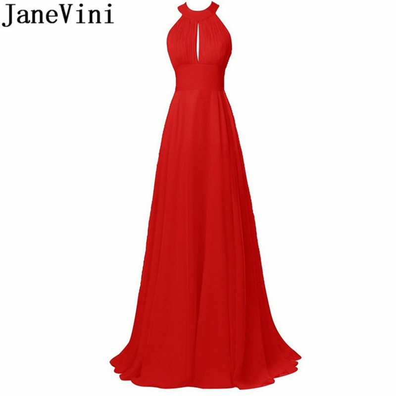 JaneVini Red Chiffon Long Party   Dress   Backless Pleat   Bridesmaid     Dresses   O-Neck Floor Length Simple Prom   Dress   Maid Of Honor Gown