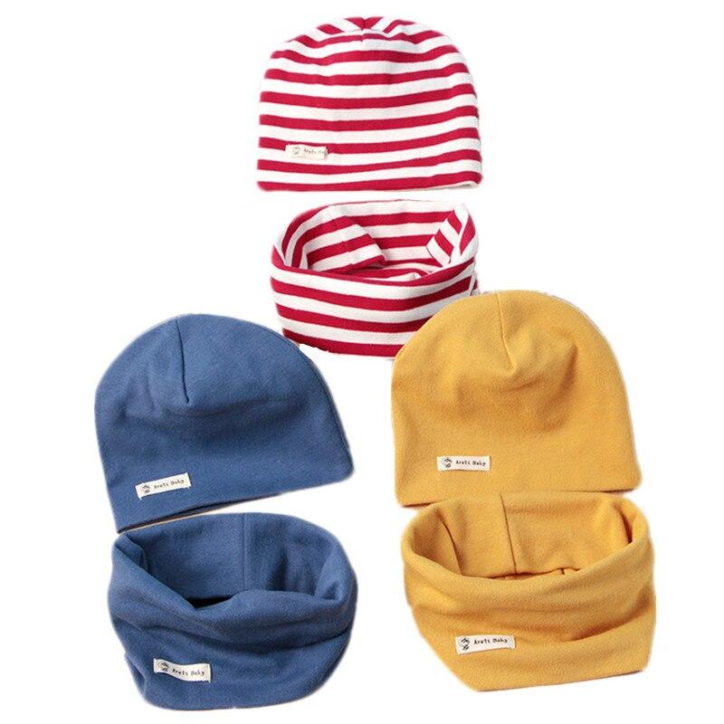 402be97de48 Fashion Cotton Baby Hat Scarf Kids Hat Autumn Winter Children Scarf-collar  Boys Girls Warm