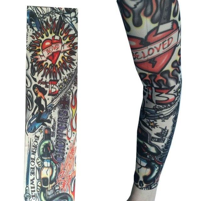 2Pc Nylon Seamless Elastic Fake Temporary Tattoo Sleeve Death Skull Rose Thick Design Slip On Tattoos Arm Stocking Cool Body Art