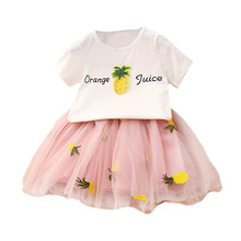 Cute Baby Girls Clothes Sets Summer Short Sleeve Pineapple Print T Shirts And Embroidery Tutu Skirt 2Pcs Fashion Kids Set