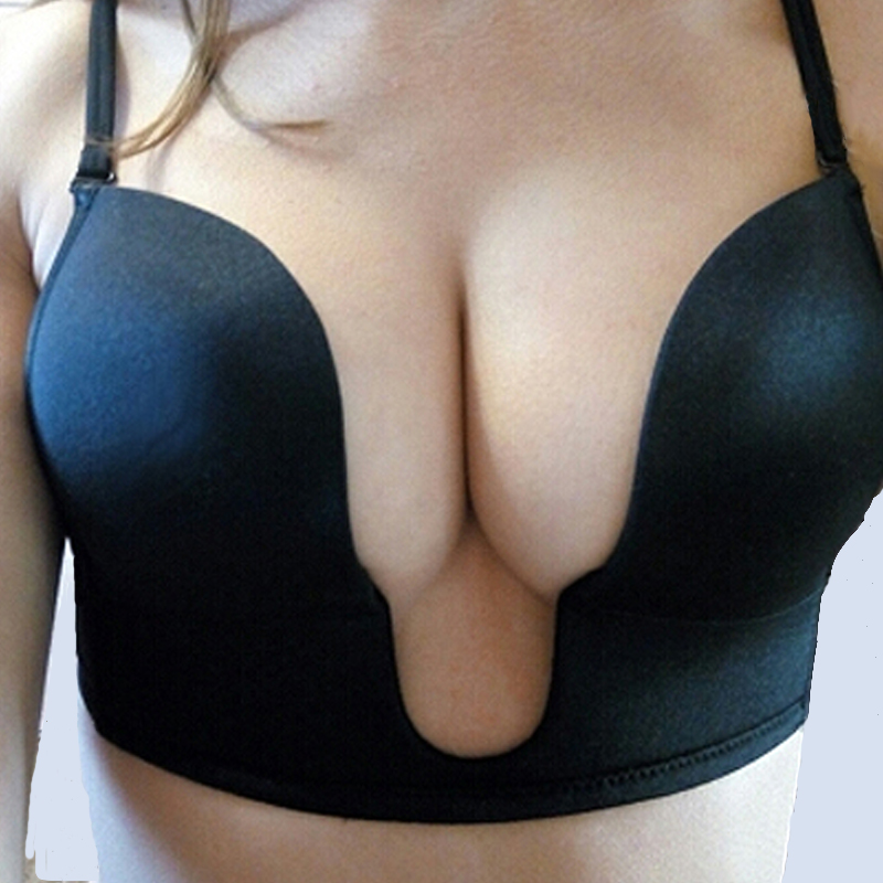 Fashion Deep Plunge U Push Up Bra For Women Sexy Underwear Bras Adjustable Convertible Clear Back Straps Bralette BH Top