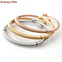 New Arrive Womens Gift Fashion 3pcs Set Silver Gold Rose Gold Stainless Steel Round Bangle Bracelet