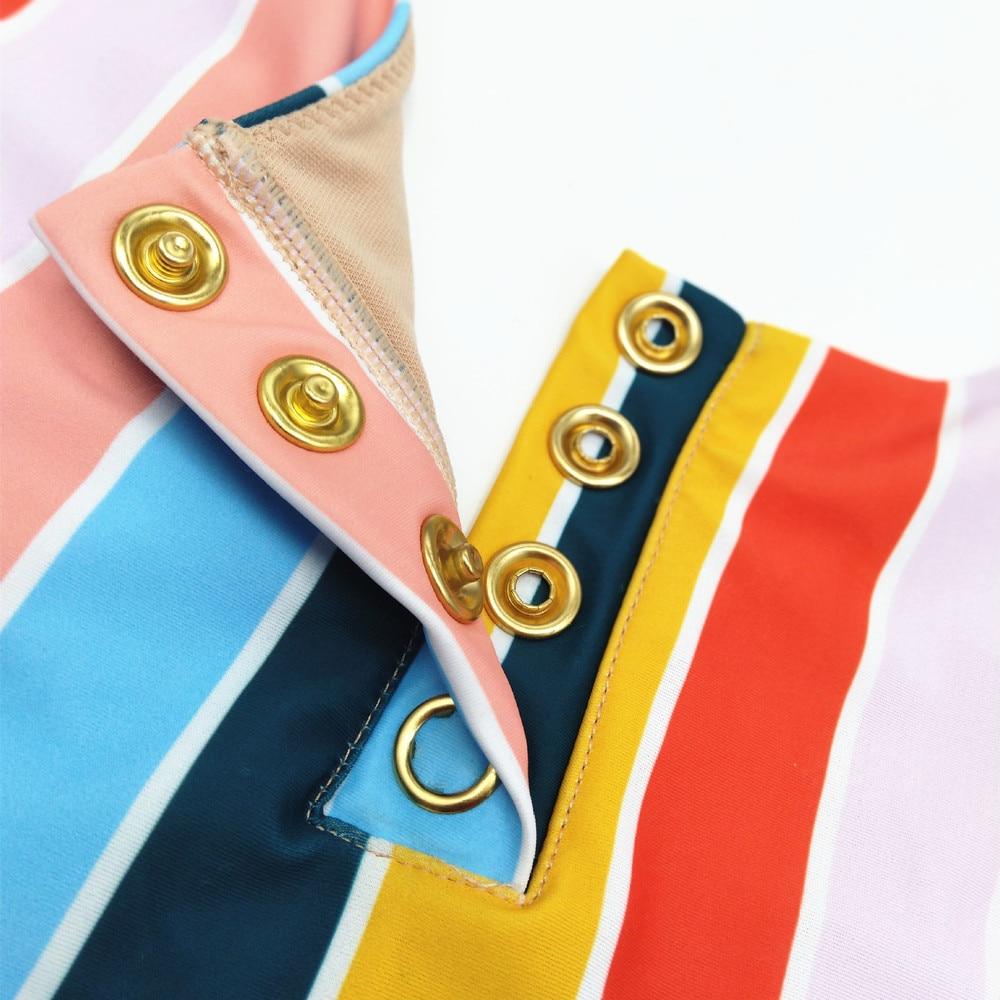 Summer Swimwear Women Sling Backless One Piece Slim Swimsuit Vintage Retro Colorful Stripe Bathing Suits Bikini Padded Beachwear in Body Suits from Sports Entertainment