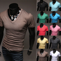 2015 New Free shippimng Casual Solid color V neck short sleeve T-shirts M/L/XL/XXL Wholesale PT30