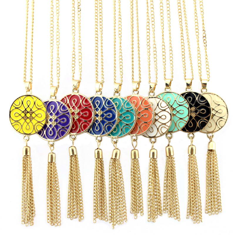 wholesale monogram fringe tassel necklace gold fashion jewelry enamel disc endless knot necklace