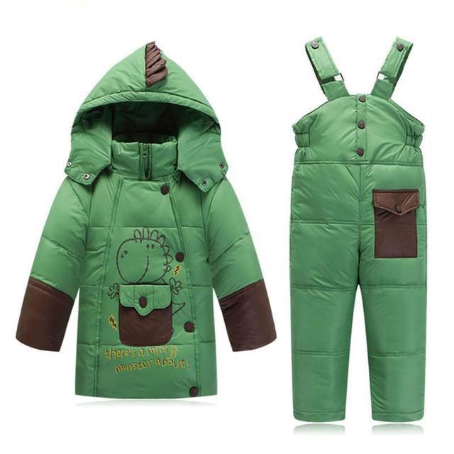 Дети Одежды Мальчиков Девочек Зимой Вниз Пальто Детей Теплые Куртки Dinosaure Малыш Snowsuit Верхняя Одежда Пальто + Брюки Комплект Одежды