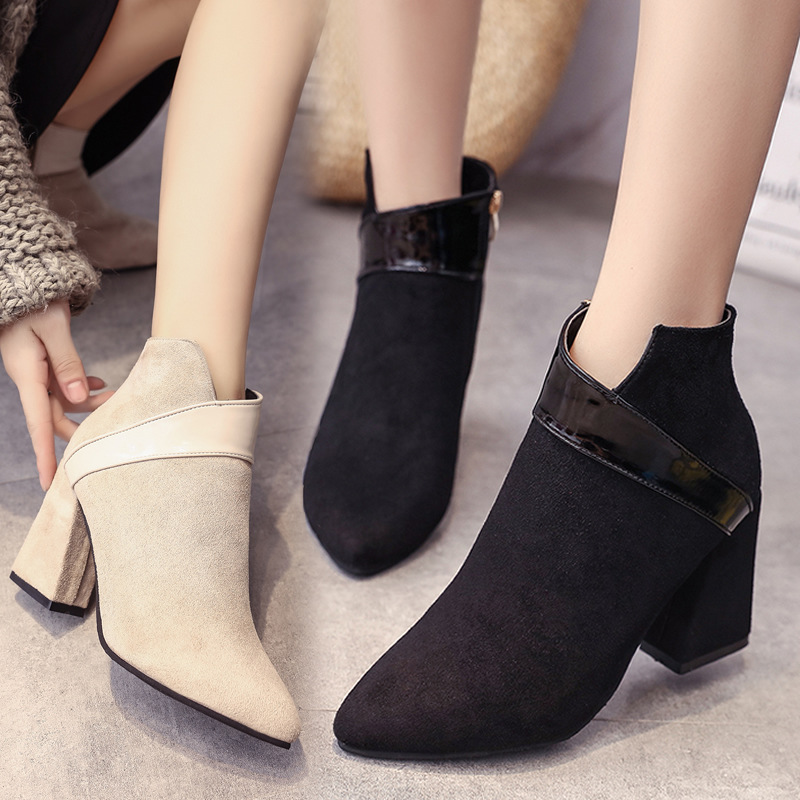 High heels shoes women autumn winter sexy pointed toe ankle boots ladies retro chunky heels short boots botas mujer beige black 40