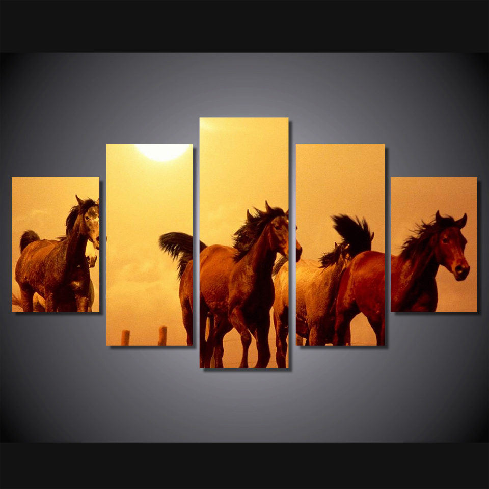 5 Pcs HD Printed Sunset Running Horse Wall Picture Painting On Canvas For Living Room Poster Print Lienzos Decorativos Modernos