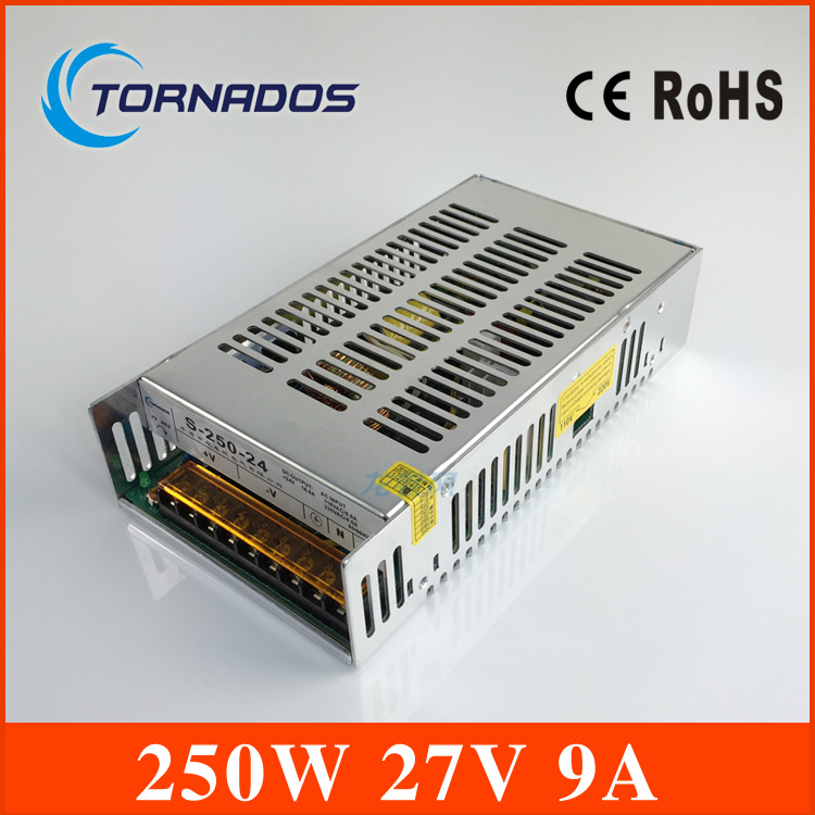 Output 27VDC 9A 240W Regulated Switching Power Supply - S-250-27 rps369 10 pieces per lot 36 vdc 9 7a regulated switching power supply with 85 132 176 265 vac input