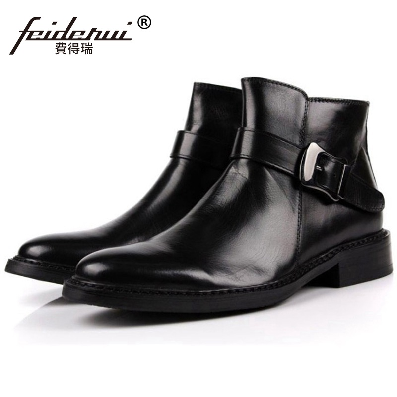 Luxury Brand Man Round Toe Business Ankle Boots Genuine Leather Italian Designer Flat Platform Men's Cowboy Martin Shoes OD13 new arrival man luxury brand cowboy western shoes male designer genuine leather round toe men s cowboy martin ankle boots ke62 page 3