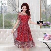 Chiffon Mesh Print Floral Dress Plus Size 3xl 4xl 5xl 6xl Summer Women Butterfly Sleeve Party