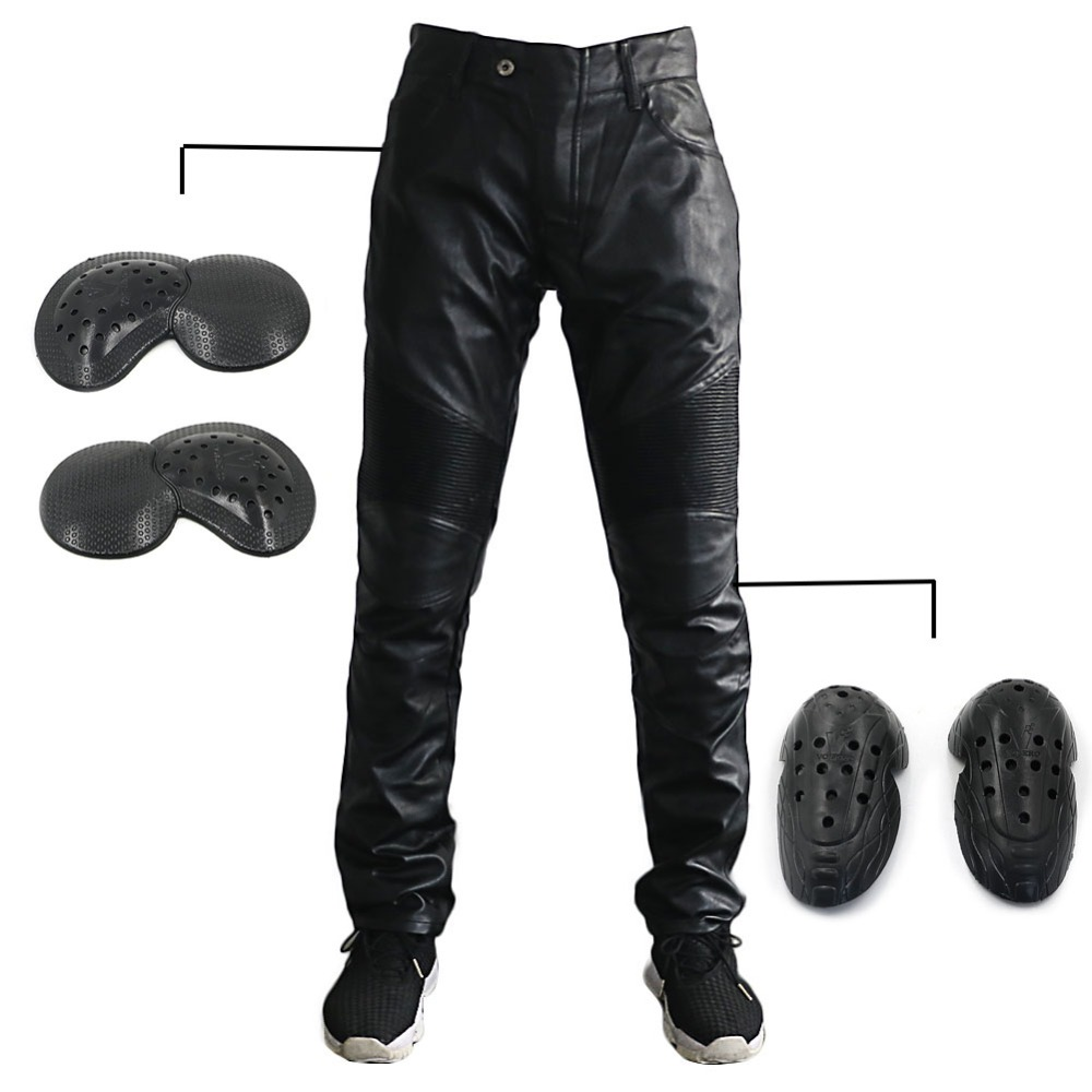 Punk Rock Men's Pu Leather Slim Fit Motorcycle Trousers Black Pants Soft Knee Hip Guards Protection Pads Motorbike