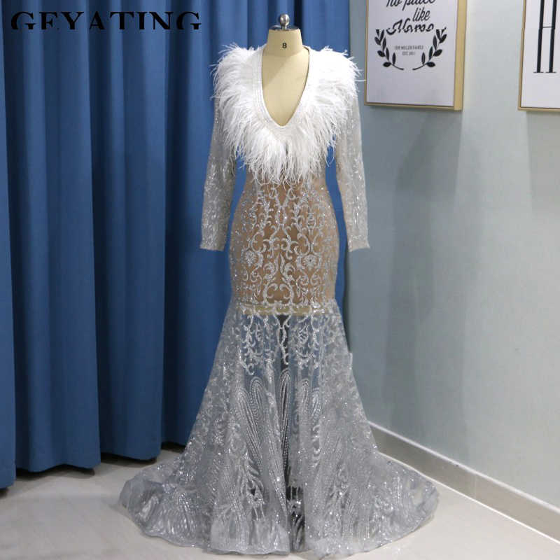 13e7deffa13 2019 Luxury Silver Sequin Feather Black Girl Prom Dresses Long ...