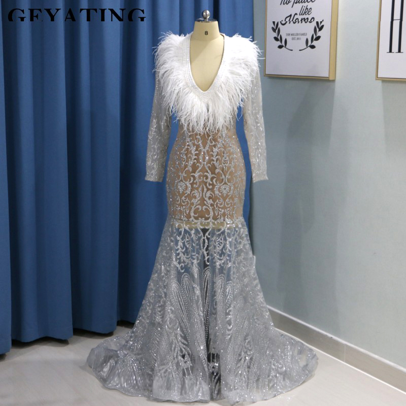 Sparkly Sequins Silver Feather Prom Dresses Plus Size V Neck Long