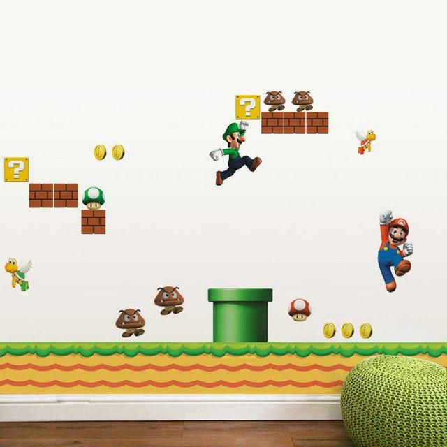 Adesivi Murali Super Mario.Us 9 99 Cartoon Decalcomanie Pvc Super Mario Bros Yoshi Luigi Adesivi Murali Diy Rimovibile Carta Da Parati Per Bambini Camere Bambini Bedroom