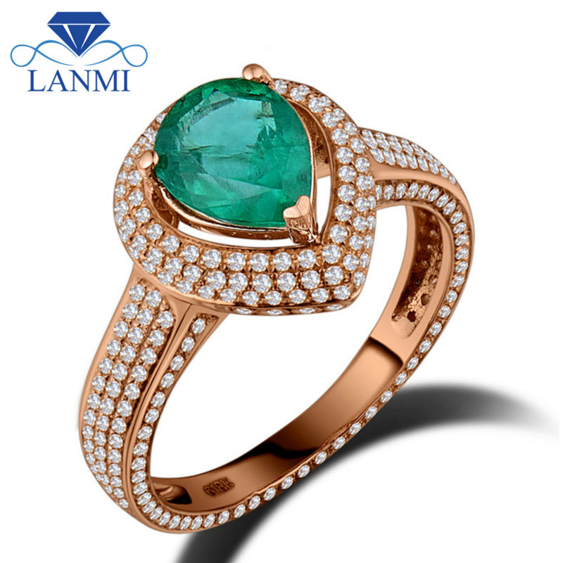 Lanmi 100% Pure Gemstone Rings Jewellery Stable 18Okay Rose Gold Real Diamond Colombian Emerald Engagement Marriage ceremony Ladies Ring