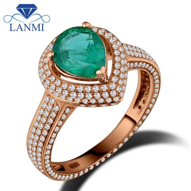 521faa06badc LANMI 100% Natural Gemstone Rings joyería 18 K oro rosa diamante genuino  Esmeralda colombiana compromiso