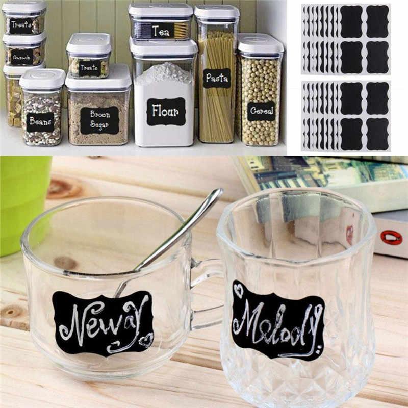 36 sztuk/zestaw tablica tablica tablica kredowa naklejki naklejki etykiety słoik kuchnia naklejki ścienne czarny