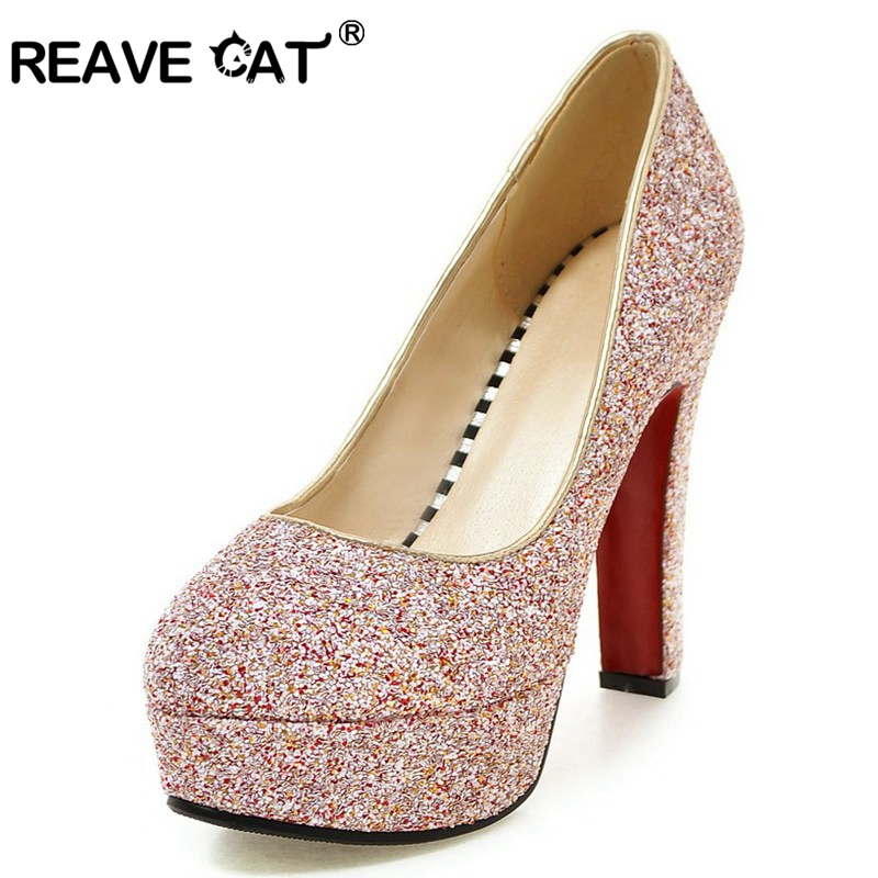REAVE CAT Glitter New arrive Spring summer Shoes woman High heels Ladies pumps Female mujer shoes