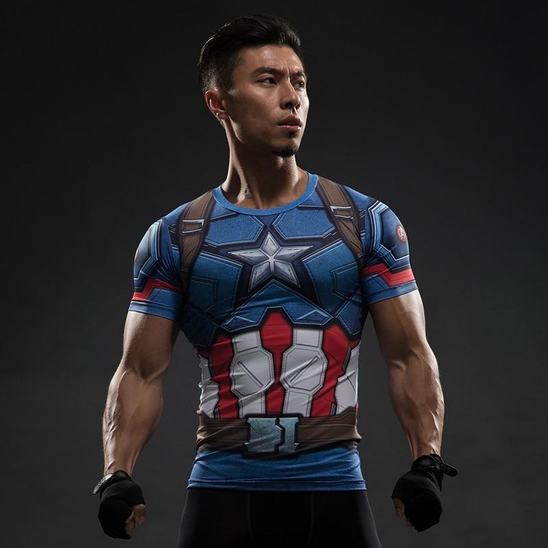 Superhero Captain America 3D Fitness T-shirts Short Sleeve Gym Shirts Tops Tee
