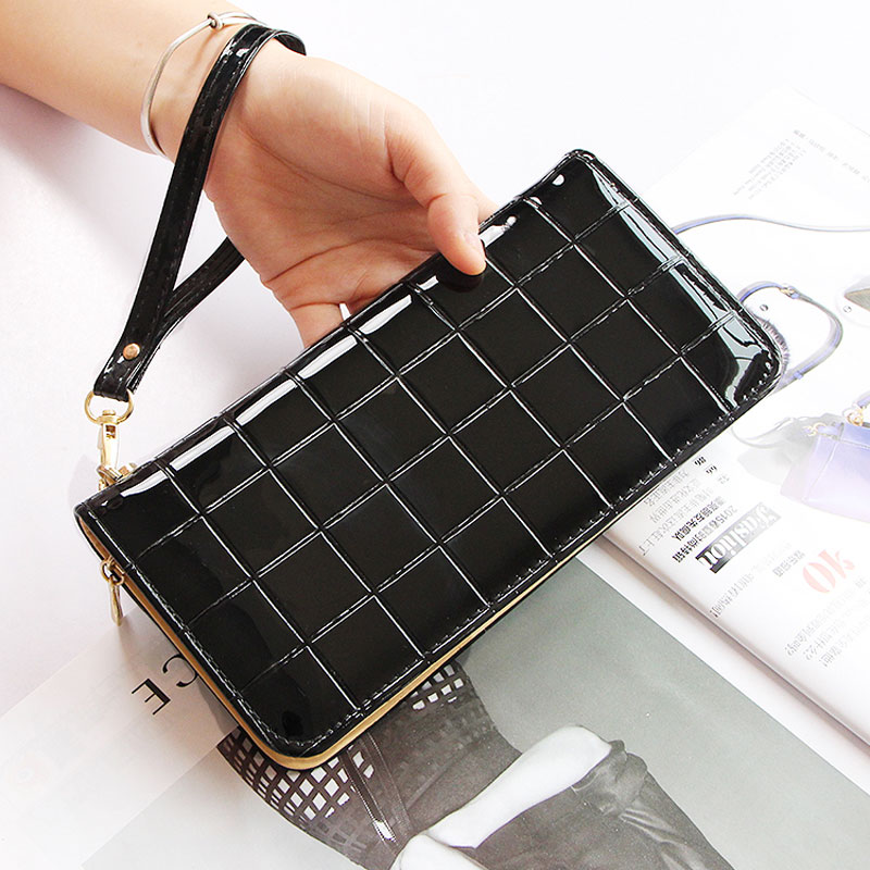 New brand Candy Colors female Purses Plaid shiny Leather Zipper Wallet Phone Cards Holder Wallet For Girls Women long Wallet