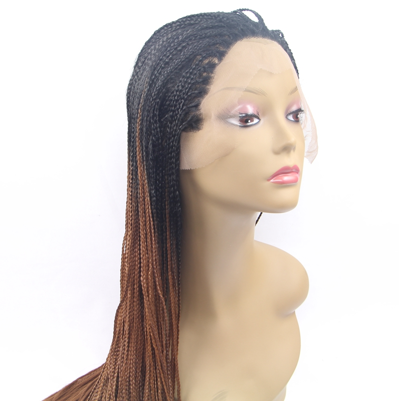 DLME long Braided wigs Heat resistant half brown ombre color Micro braid lace front wig synthetic hair for black women