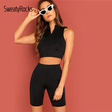 SweatyRocks Half Zip Front Crop Tank Top And Biker Shorts Set Active Wear Skinny Solid Outfits Summer Black Women 2 Piece Set(China)