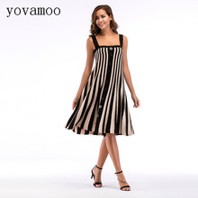 Yovamoo Summer Vintage Plus Size Vertical Striped Front Button Knitted Dress Spaghetti Strap Midi Dresses Women Clothes 2018