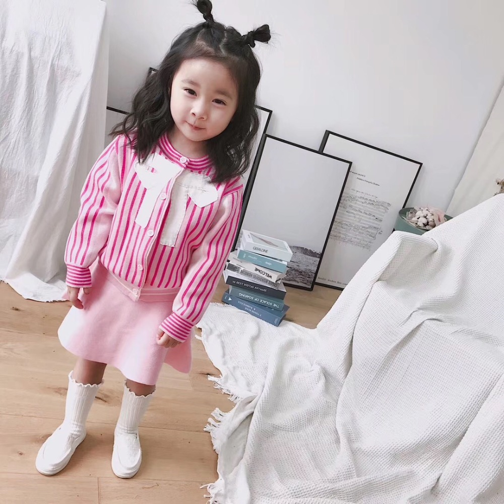 baby girl autumn winter clothes children clothing set Cute sweet pink stripe fashion Handmade bow 2pcs set jacket + skirt easter sparkle 3rd hot pink white dot top rainbow stripe skirt set 1 8y mamh170