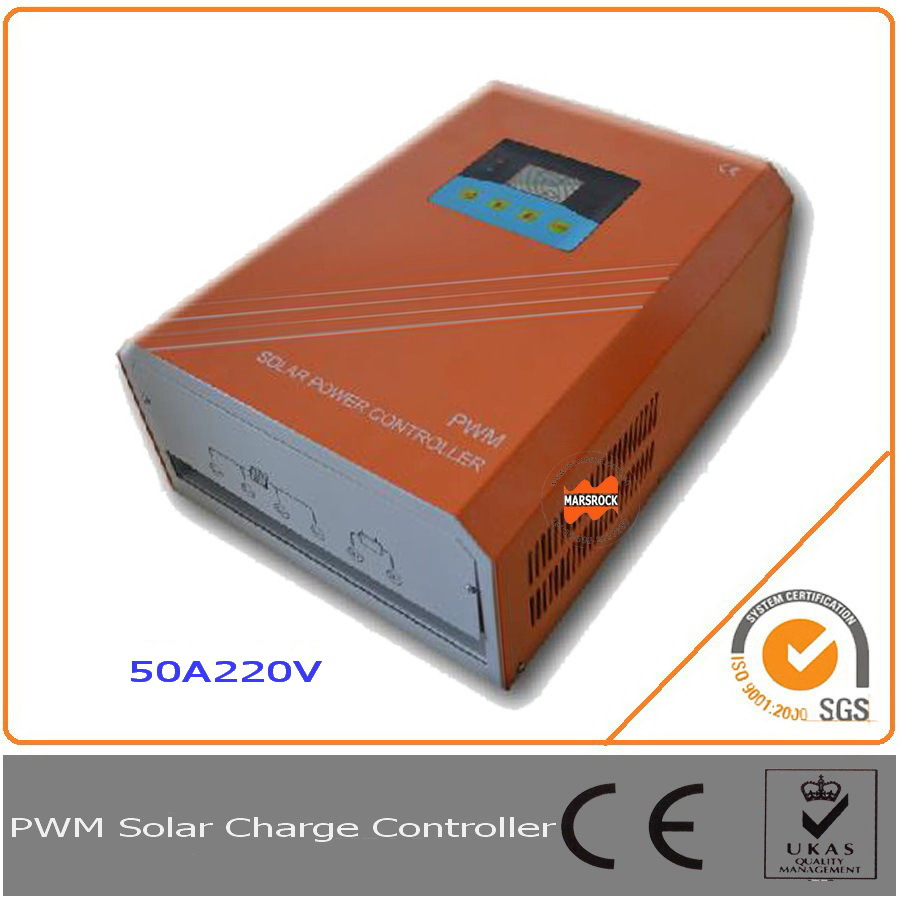 50A 220V Solar Charge Controller with RS232 communication interface, equipped with LCD d ...