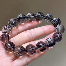 цены Genuine Natural Black Rutilated Quartz Crystal 14mm Clear Round Beads Wealthy Stone Bracelet For Women Men From Brazil AAAAA