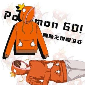 Image 1 - New Anime Pocket Monster Magikarp Hoodie Autumn/Winter Creative Fashion Leisure Orange Unisex Cotton Coat Free Shipping
