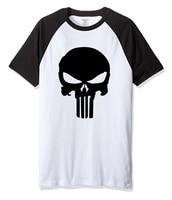 2017 Summer Short Sleeve Cotton Raglan T Shirt Men The Punisher Skull Print Men S Streetwear