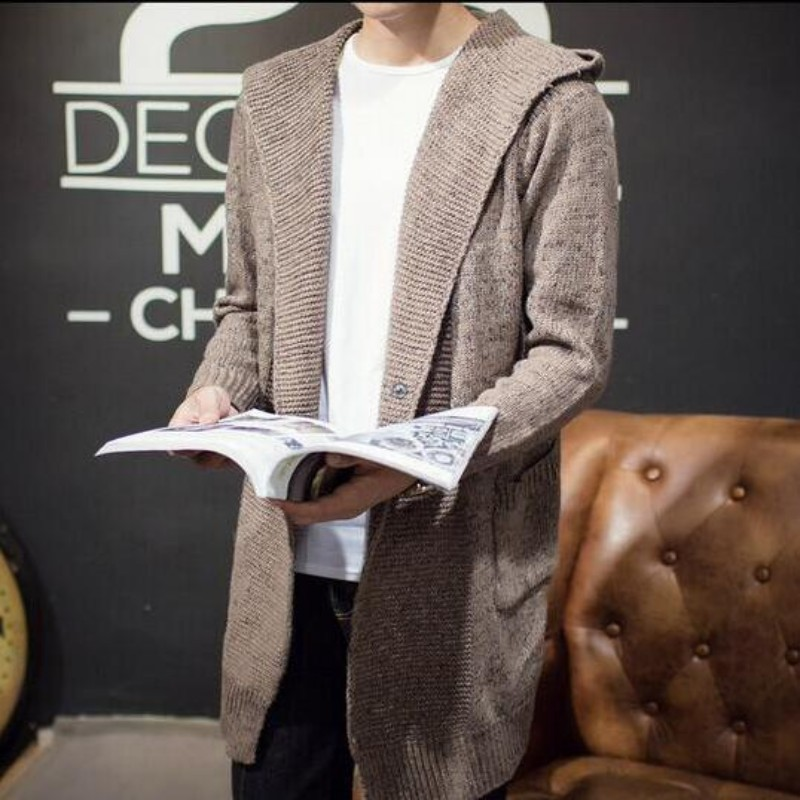 Haute qualité hommes automne tricots à capuche Cardigan mâle décontracté Long chandail vêtement d'extérieur près du corps Cap manteaux taille M-2xl