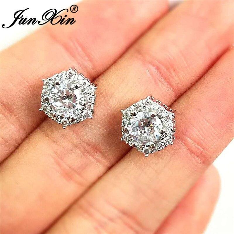 JUNXIN Female Crystal Hexagon Stud Earrings For Women Silver Color White Zircon Stone Wedding Earrings Jewelry CZ