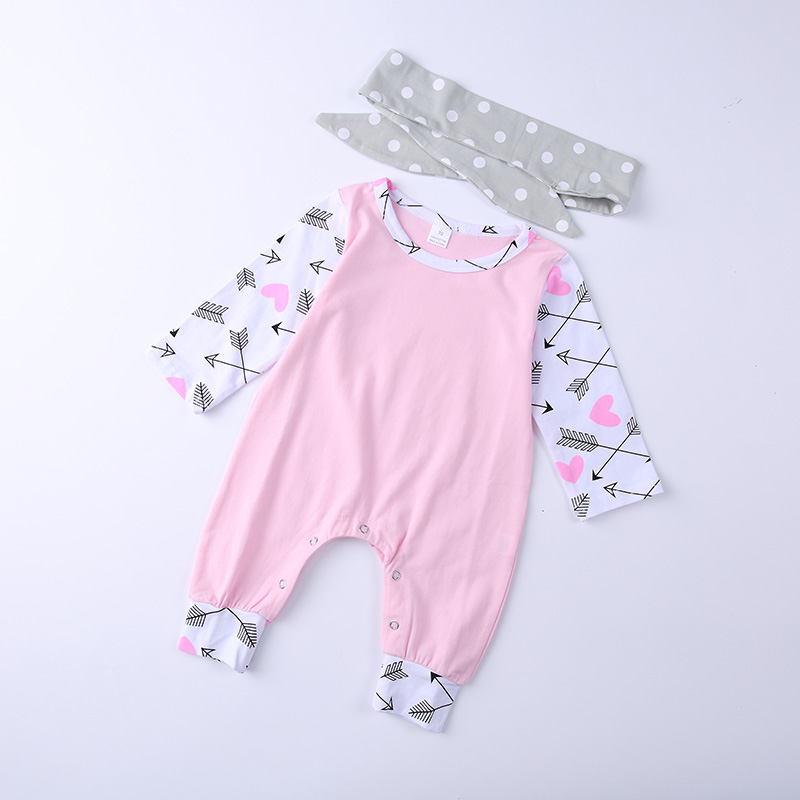 2018 Spring Autumn Baby Girls Romper Long sleeves Arrow For Love Baby girls 2pcs sets jumpsuit+Headband Baby girls clothing