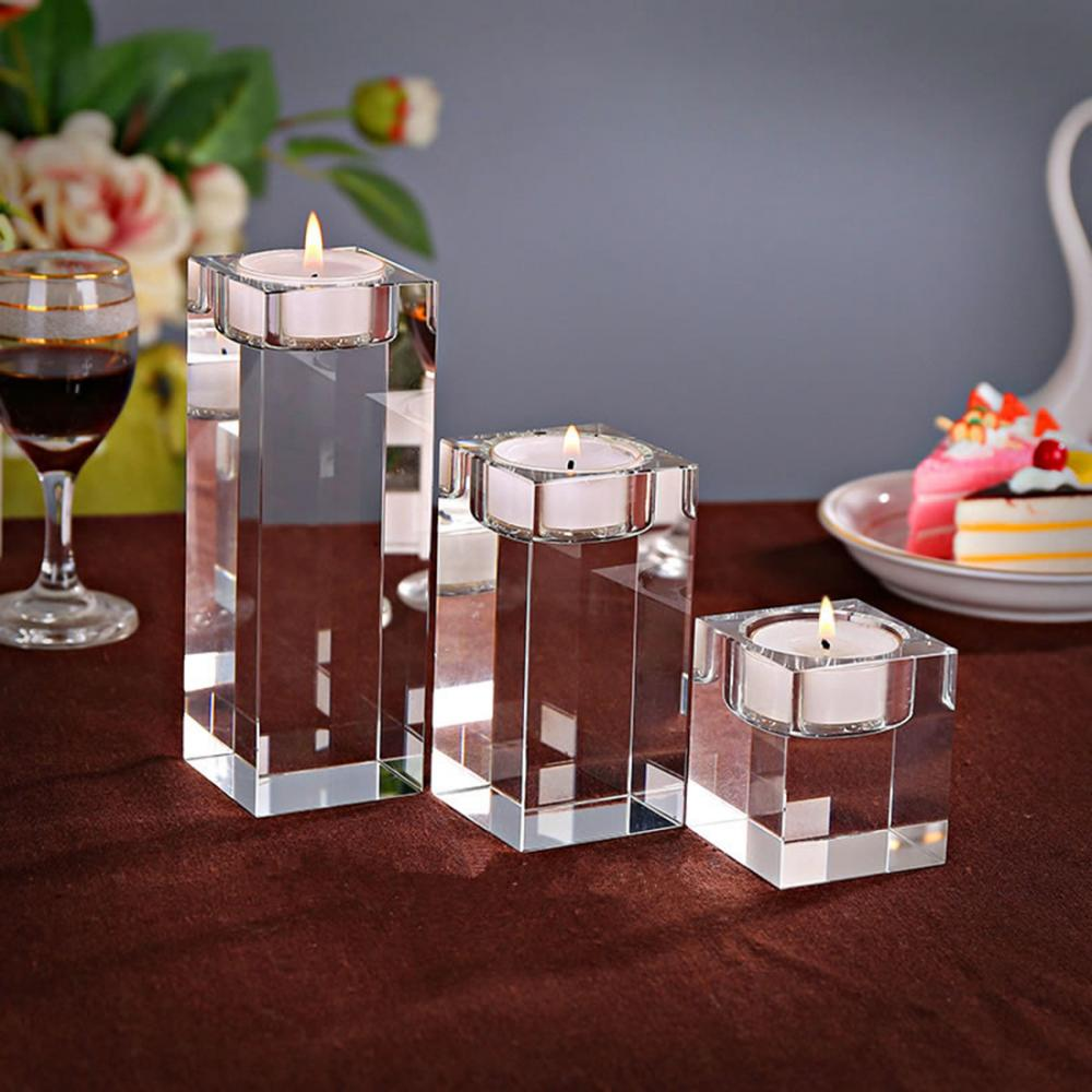 Crystal Transparent Candle Holders Festive Candlestick Home Decorations Candle Lantern Candelabra Delicate For Wedding Birthday(China)