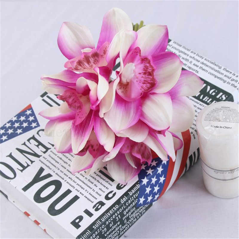 Impresión táctil Real cymbidio 6 cabezas flores artificiales látex sensación de mano flor falsa decoración de boda para el hogar