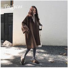 Loose woolen coat womens autumn and winter long size loose  316five